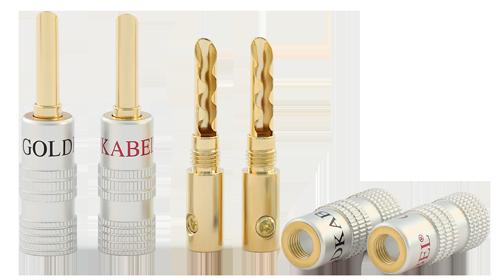 Goldkabel PROFI HOHL-BANANA MKII silber (4er Set)